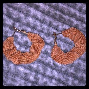Tan chenille earring hoops!